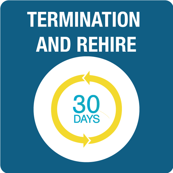 Termination and Rehire in 30 Days