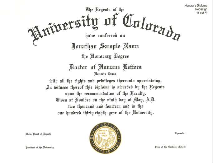 Sample Honorary Degree Certificate Images