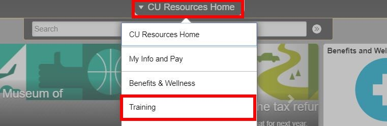CU Resources Home drop-down menu