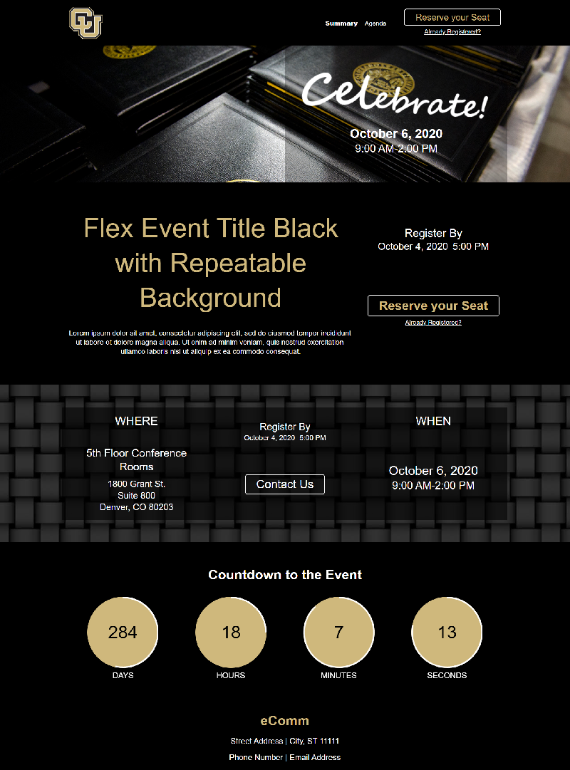 Template: Flex Event in Black with Repeatable Background