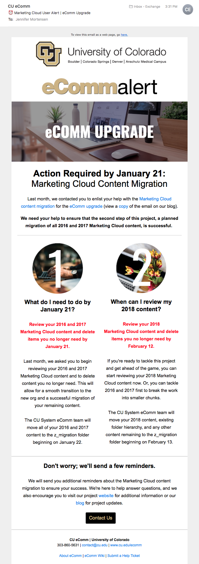 Marketing Cloud Migration Email: Phase Two