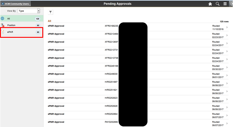 Pending Approvals Screen