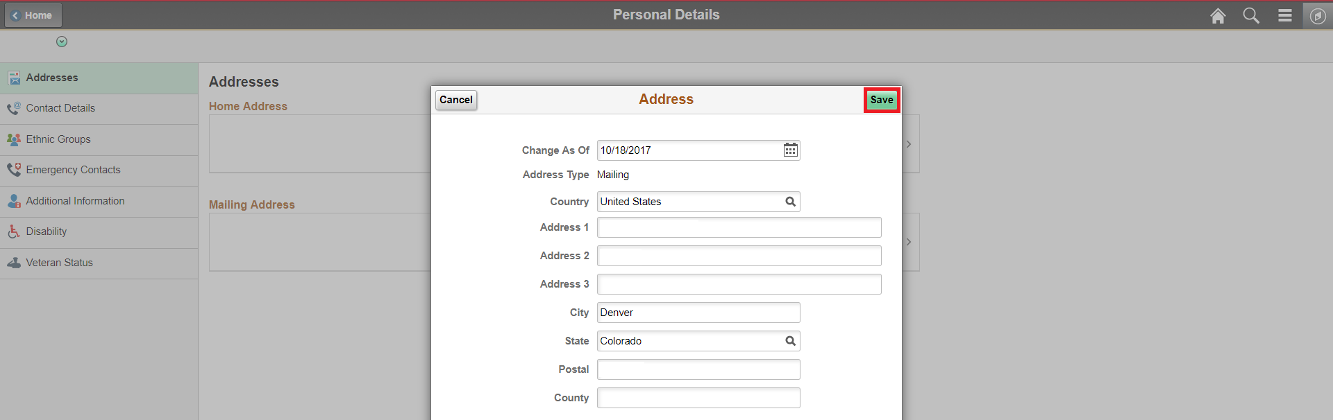 Personal Details Address Page