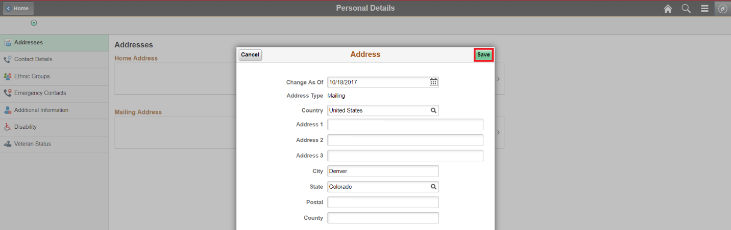 Personal Details Addresses