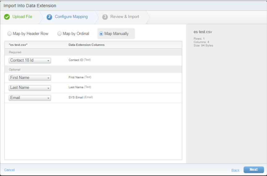 Salesforce Data Extension, Import, Configure Mapping