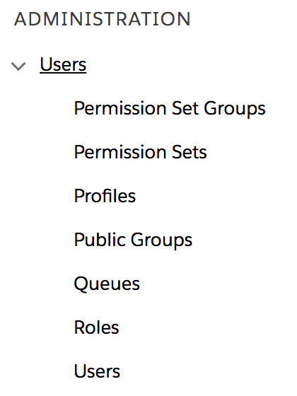 Salesforce Users Menu