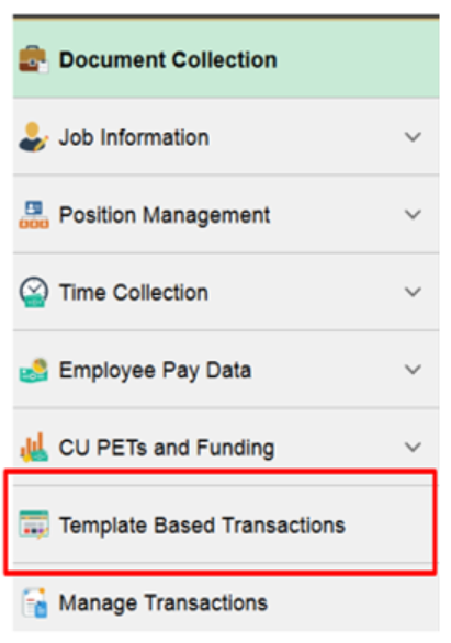 Template Based Transaction Menu