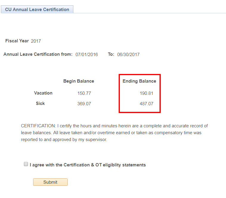 Leave certification screenshot example for Work/Life Blog