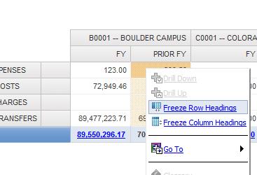 freeze row headings