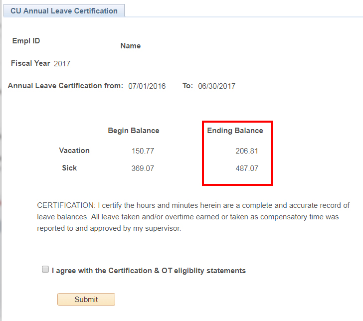 Leave certification screensho