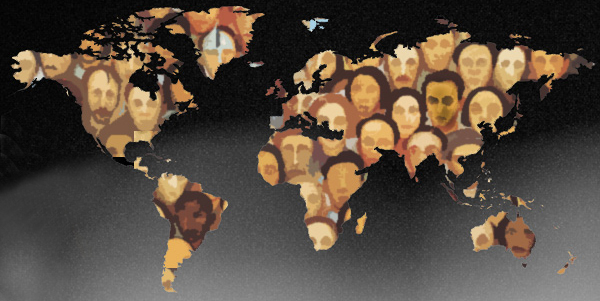 image: rendition of world map and people