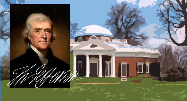 image: montage of Thomas Jefferson's photo, signature and residence