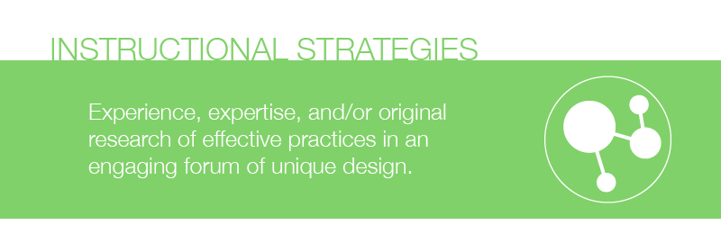 Session Type : Instructional Strategies.  Experience, expertise, and/or original research of effective practices in an engaging forum of unique design.