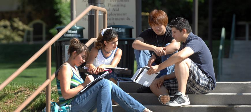 image: students studying on UCCS campus