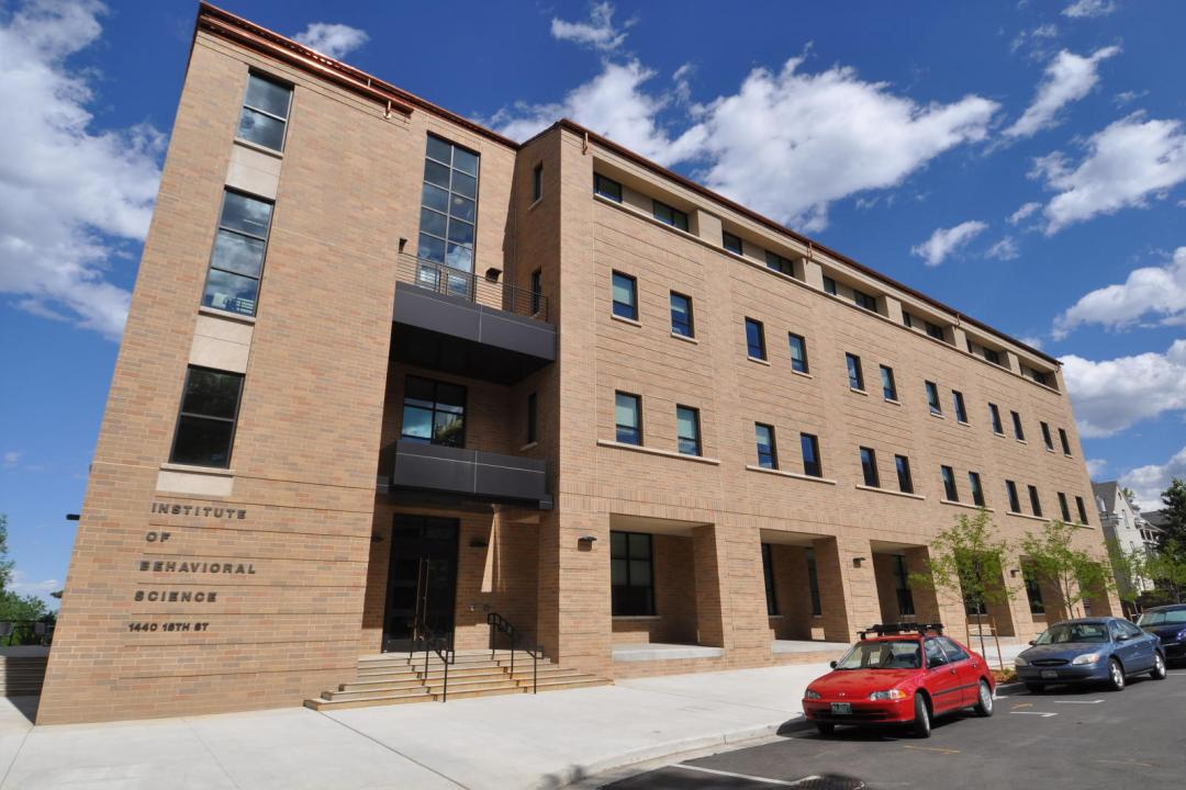 Photo of the Institute for Behavioral Science building on the CU Boulder campus.