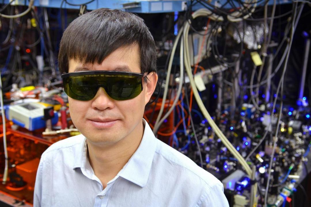 Jun Ye in his lab on the CU Boulder campus. (Credit: CU Boulder)