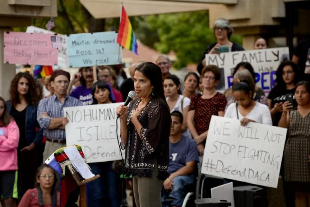 University of Colorado Law Professor Violeta Chapin, speaking during a 2017 rally in Longmont. (Camera file photo)