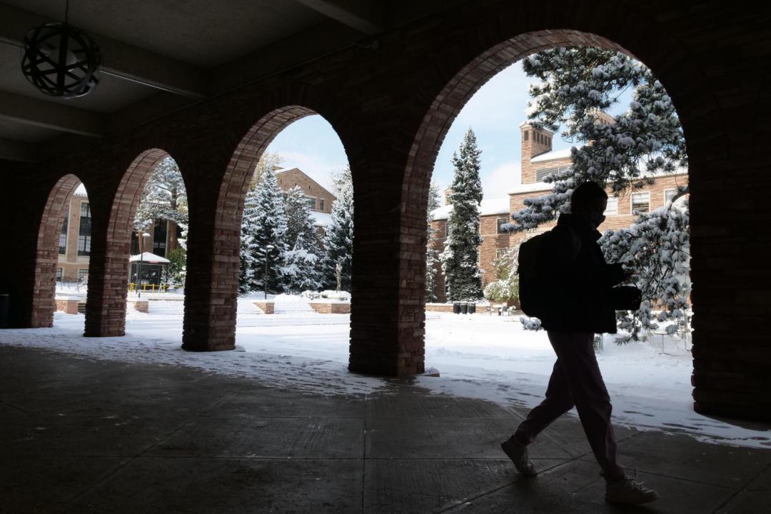 Snow scenic at the University of Colorado Boulder. (Photo by Casey A. Cass/University of Colorado)