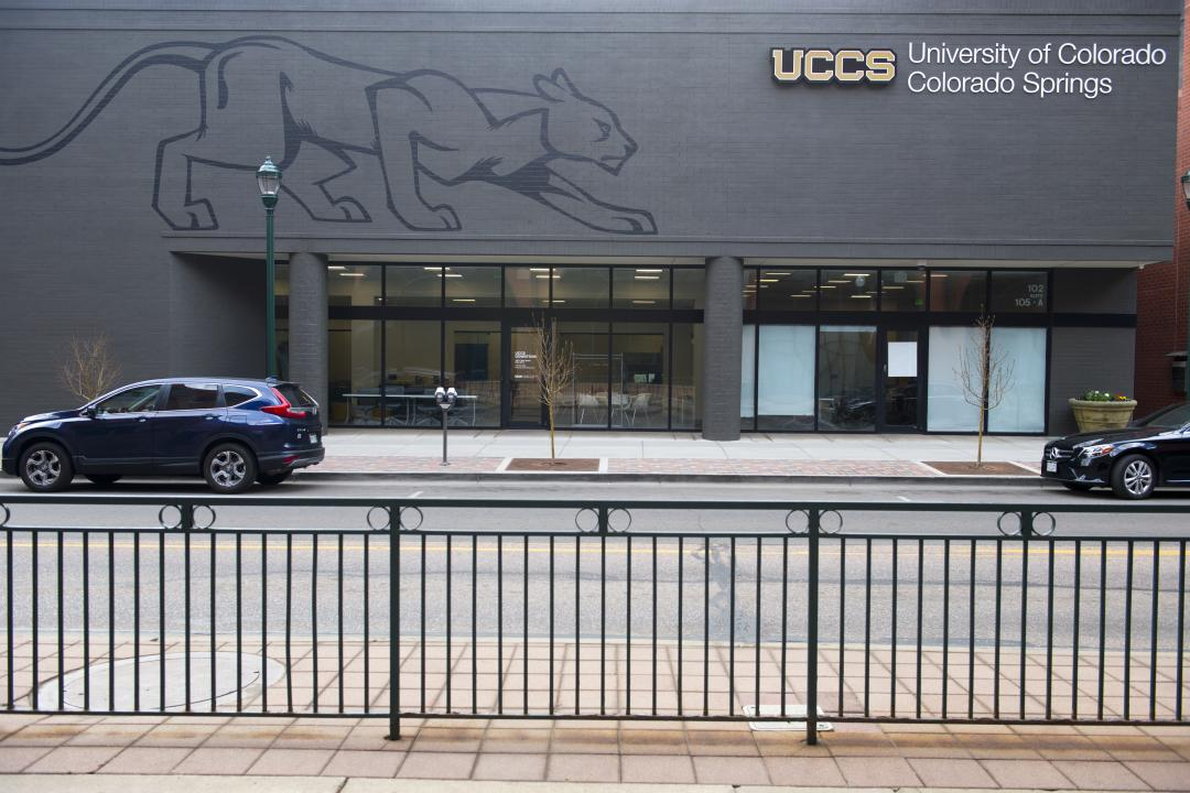 Street-level photo of the UCCS Downton satellite campus.