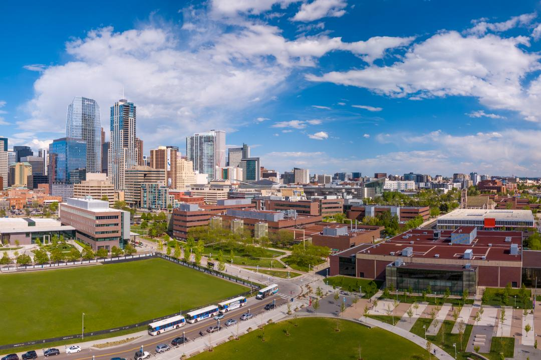 Aerial photo of the CU Denver campus and downtown Denver.