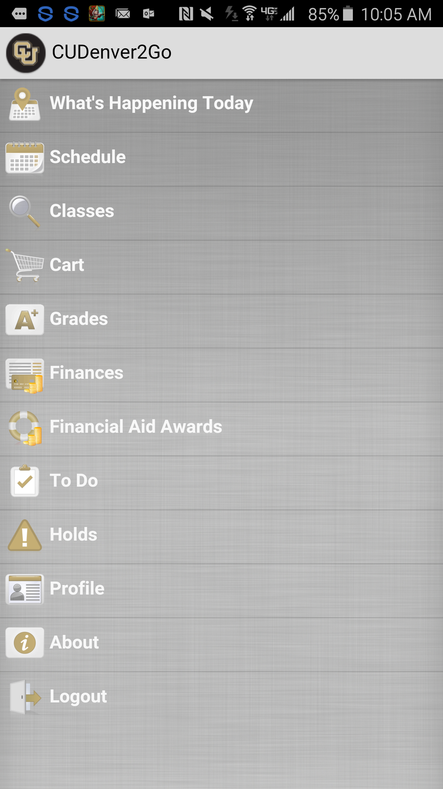 UCD mobile app main screen